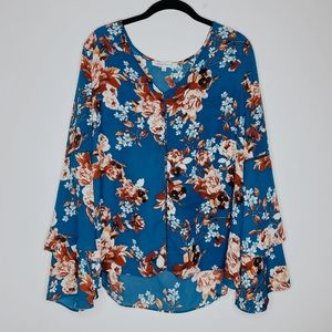 Rose and Olive floral bell sleeve top size large